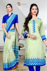 Light Green and Blue Silk Georgette Uniform Saree Kurti Combo