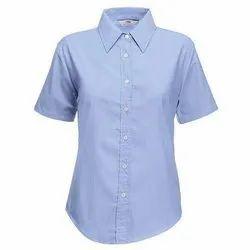 Blue Cotton Girls School Shirt