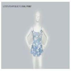 Light Blue Floral Print Swim Wear