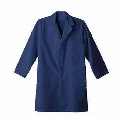 Blue Plain Cotton Lab Coat, Machine wash, 210-310