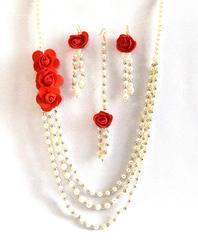 Red Rose Multi Strand Flower Jewelry