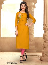 Rayon Straight Fancy Embroidered Kurti