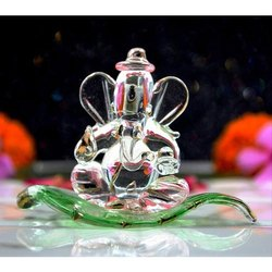 Transparent Craftfry Patta Glass Ganesh Statue, For Interior Decor, Size: 6*4*2 Cm