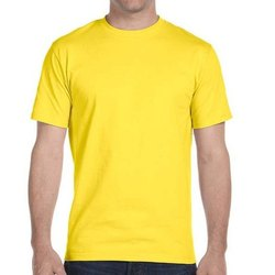 Polyester Half Sleeves Men's Yellow Round Neck Dri Fit T Shirt, Packaging Type: Packet