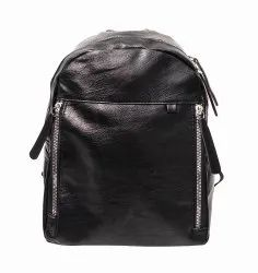 Black Leather College Bag