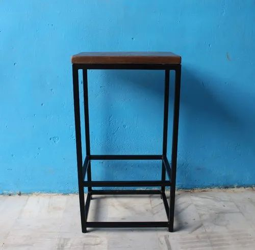 Fantastic Metal Base Curve Wooden Top Bar Stool Customarchery Wood Chair Design Ideas Customarcherynet