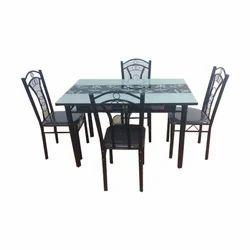 4 Seater Mild Metal Dining Table Set