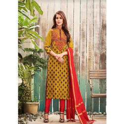 Yellow Printed Ladies Suit