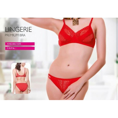 3249b6d2d424 Red Cotton Ladies Bra Panty Set, Size: 28 To 36, Rs 80 /set | ID ...