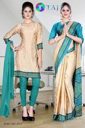 Light Brown and Green Italian Crepe Uniform Saree Kurti Combo