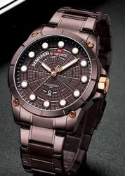 Round NF9152 Naviforce Luxury Stainless Steel Men''s Wrist Watches, For Personal Use