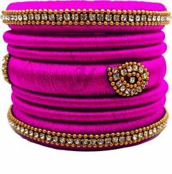 Pink and Handmade Silk Thread Bangle Set
