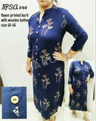 Ipsa 040 Rayon Print Kurti With Wooden Buttons