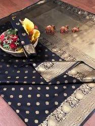Banarasi Silk Casual Wear Black Saree With Blouse Piece