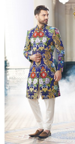 e68771b9c4df7d Mens Sherwanis - Neerus Off White Colored Georgette Fabric Sherwani  Ecommerce Shop   Online Business from Hyderabad