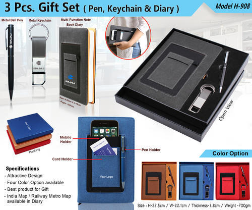 3pcs Gift Set (Pen,Keychain & Diary) H-908 for Office