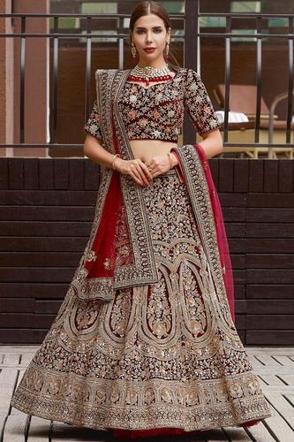 0e1add8177 Bridal Maroon Embroidery Velvet Lehenga Choli, Rs 3833 /piece | ID ...