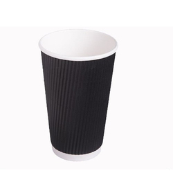 Plain Ripple Wall Black Disposable Cup, Packet Size (pieces): 100 Pieces