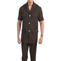 Plain Mens Brown Safari Suit