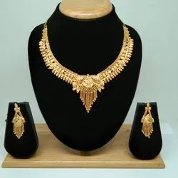 Traditional Latest Design Golden Color Forming Necklace Set For Women, Gold Plated