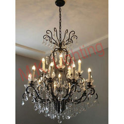 Wrought Iron Crystal Chandelier