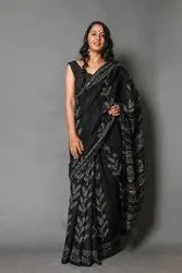 Black Printed Cotton Saree