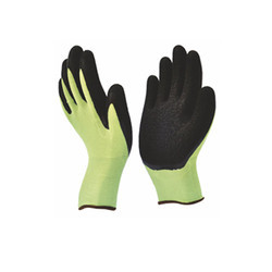 Crinkled Latex Coated Gloves Fluorescent High Visibility