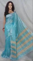 Party Wear Plain Premium Quality Tissue Linen Saree, Length: 6.3 m