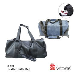 Giftmart Black & Blue B-053 Leather Duffle Bag, For Travel