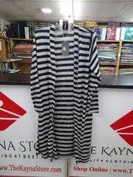 Casual Wear Black Long Woolen Shrug Dress For Woman