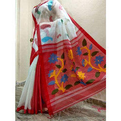 6 m (with blouse piece) Ladies Handloom Saree, Cotton