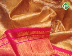 Kancheepuram Gold With Hot Pink Kanchi Tissue Sarees