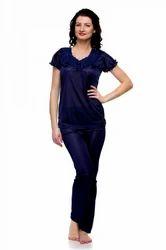 Blue Satin Lycra Solid Lace Work Night Wear