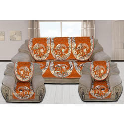 5 Seater Orange Printed Sofa Cover Set