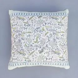 Multicolor Floral Hand Block Cushion Cover