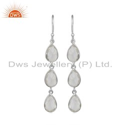 Crystal Quartz Gemstone Fine Sterling Silver Earrings