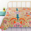 Cotton Printed Double Bed Designer Kantha Quilt, Size: 108 x 90 inch