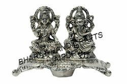 Silver Plated Laxmi Ganesh Deepam