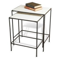 White Iron and Marble Nesting Tables for Home