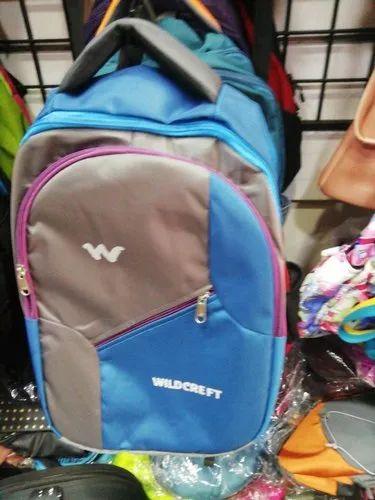 4ab083a7a7e4 Polyester Blue And Grey Stylish School Bag