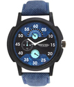 Men Round Denim Strap Watches, For Personal Use