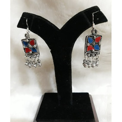 Oxidised German Silver Square Earrings