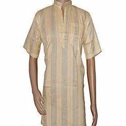 Casual Wear Stripe Mens Half Sleeves Cotton Kurta, Band Collar, Size: 40 - 42
