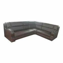 L-shape Black Leather Sofa Set
