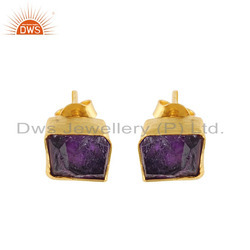 Yellow Gold Plated 925 Silver Amethyst Gemstone Stud Earrings