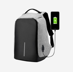 Polyster Grey Laptop Backpack With USB