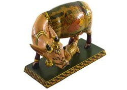 Handmade Kadam Wood Cow & Calf with Pure Gold Work