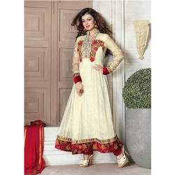 Party Wear Embroidered Cream Anarkali Suits