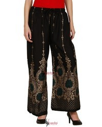 Saadgi Hand Block Print Pure Rayon Plazzo Pants for Women