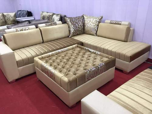Brown Wooden Leather Corner Sofa With Center Table, Rs ...
